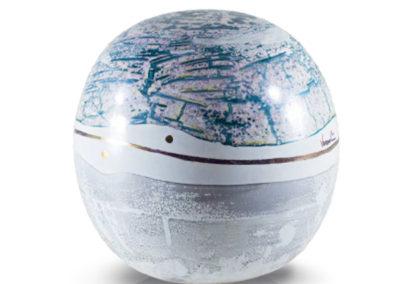 Urna in ceramica a sfera, in vari colori e oro
