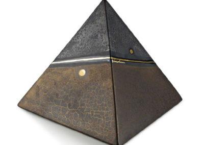 Urne in ceramica-a piramide, lavorazione tipo marmo e oro